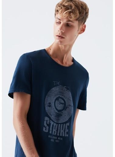 Mavi Stirke Baskılı  Tişört Mavi
